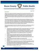Letter from Health Department