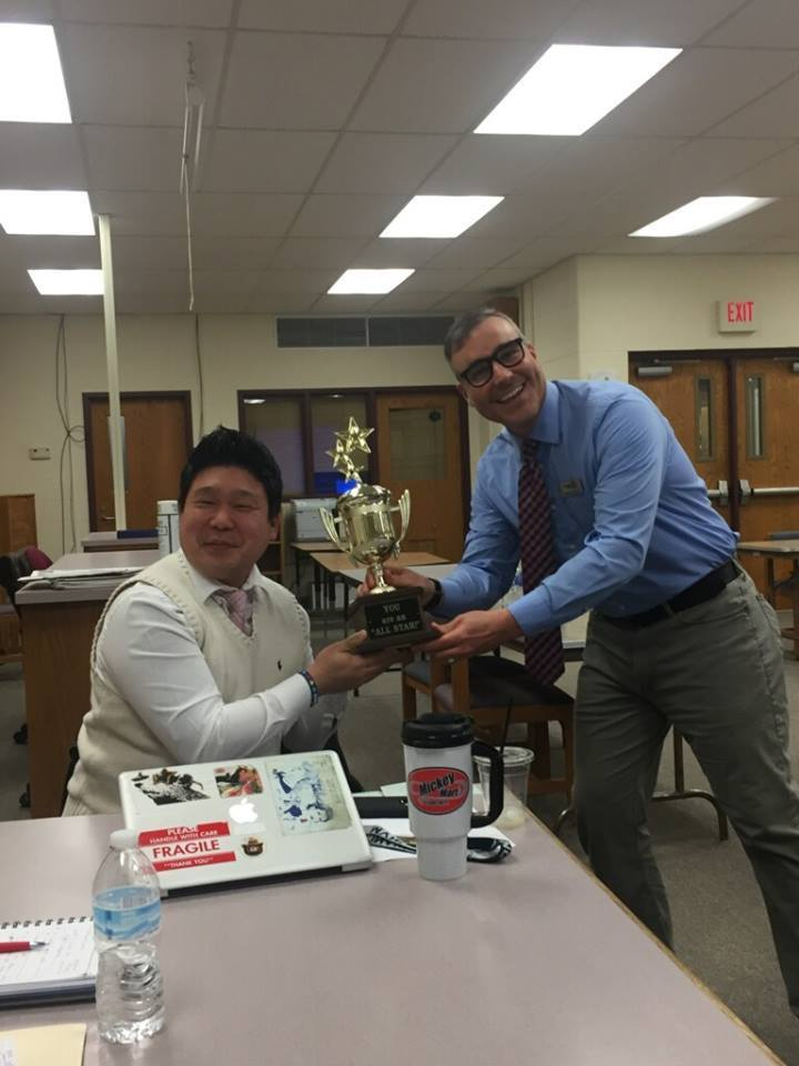 "Mr. Hong earned the ""all-star"" trophy early in the workshop!"